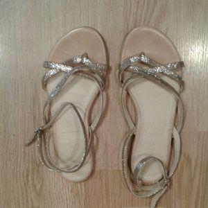 Gold glitter wrap sandals